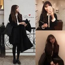 S XL grande taille nouveau printemps étudiant femme Robe filles Boho femme Robe Vintage noir à manches longues femmes robes longue Robe Vestido