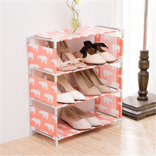 New fabric four-layer simple assembly shoe rack non-woven tee assembly shoe rack shoe storage rack stainless steel shoe rack oxford cloth simple shoe rack dormitory multilayer shoe storage rack stackable storage rack