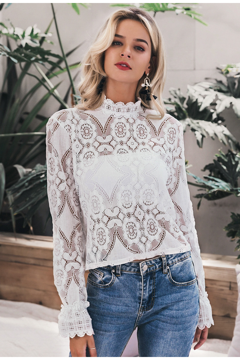 Feminine Grace Elegant White Lace Shirt Sexy Embroidery Women Long Lantern Lleeve Summer Tops See Through