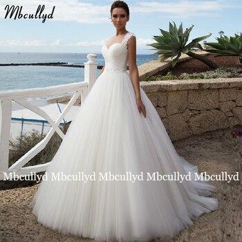 Mbcullyd vestido de fiesta de princesa vestido de boda largo de talla grande cuenta fajas corsé blanco vestido de novia vestidos de boda