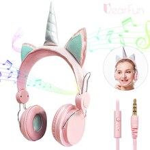 귀여운 유니콘 만화 헤드폰 이어폰 마이크와 함께 귀에 헤드셋 게이머 PC 전화 헤드폰 삼성 XIoami 선물