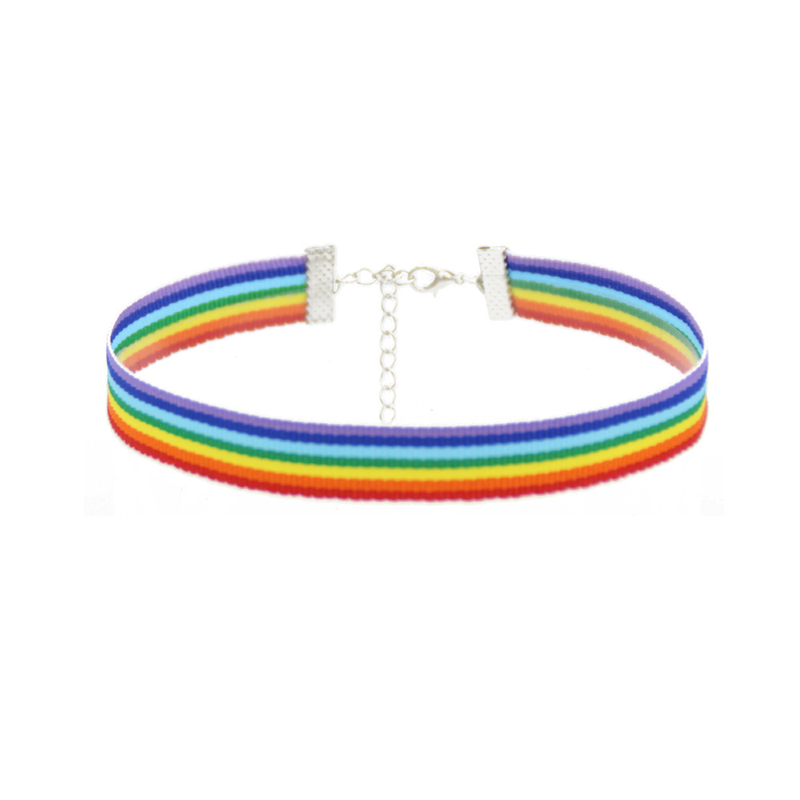 FSUNION 2019 New Men Women Gay Pride Choker NecklacePride Lace Choker Ribbon Collar With Pendant Jewelry Wholesale Gifts