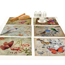 цена на Cartoon Butterfly Birds Print Linen Fabric Placemat for Dining Table Manteles Flower Design Kitchen Decoration Accessories