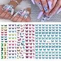 1 шт., синие наклейки для ногтей, розовые цветные наклейки в виде бабочек с клеем,
