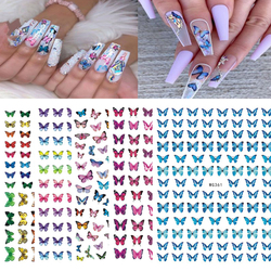1pc Blue Nail Stickers Pink Colorful Butterfly Art Sticker With Adhesive DIY Extension Nail Decoration