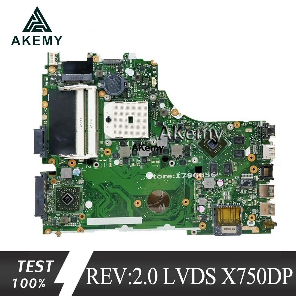 Akemy X550DP Motherboard REV:2.0 LVDS For ASUS X750DP K550DP K550D X550D Laptop Motherboard X550DP Mainboard X550DP Motherboard