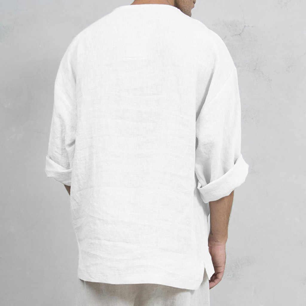 ヒップホップゆるい香港スタイルの花のファッションメンズバギーカジュアル固体長袖 V ネック Tシャツトップスシュミーズオム #88