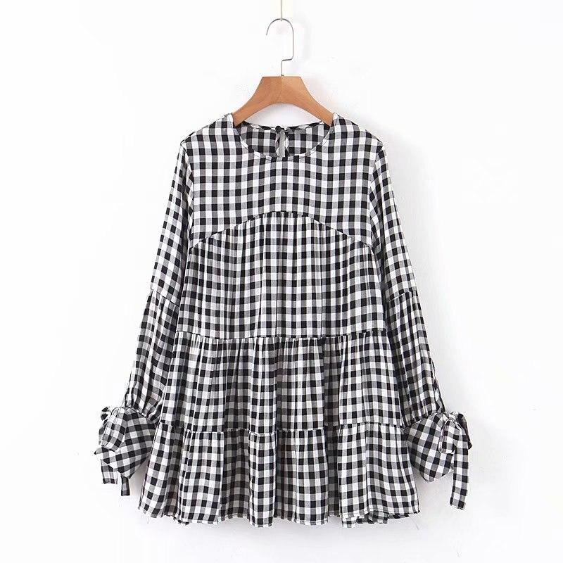 Women Fashion O Neck Plaid Print Casual Loose Smock Blouse Autumn Ladies Pleats Shirts Chic Femininas Kimono Blusas Tops LS4385