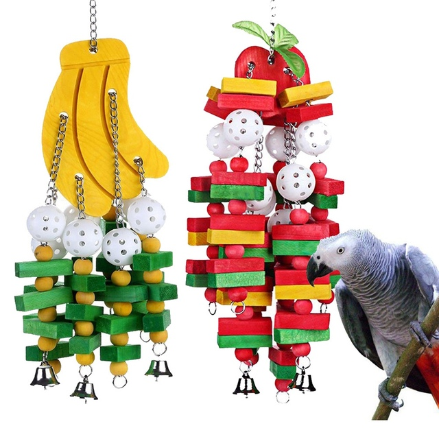 1Pc Wooden Parrot Toy Birds Colorful Large Chewing Hanging Cage Toy Parakeet Cockatiel Budgie Play Toy Pet Bird Supplies 4
