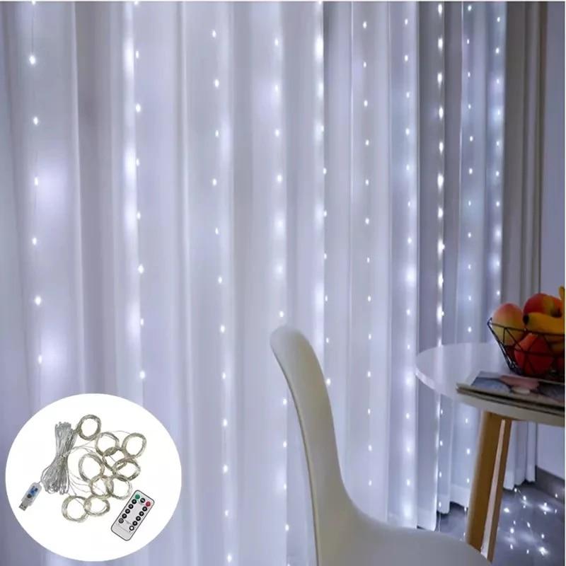 remoto led luzes da corda cortina bateria 04