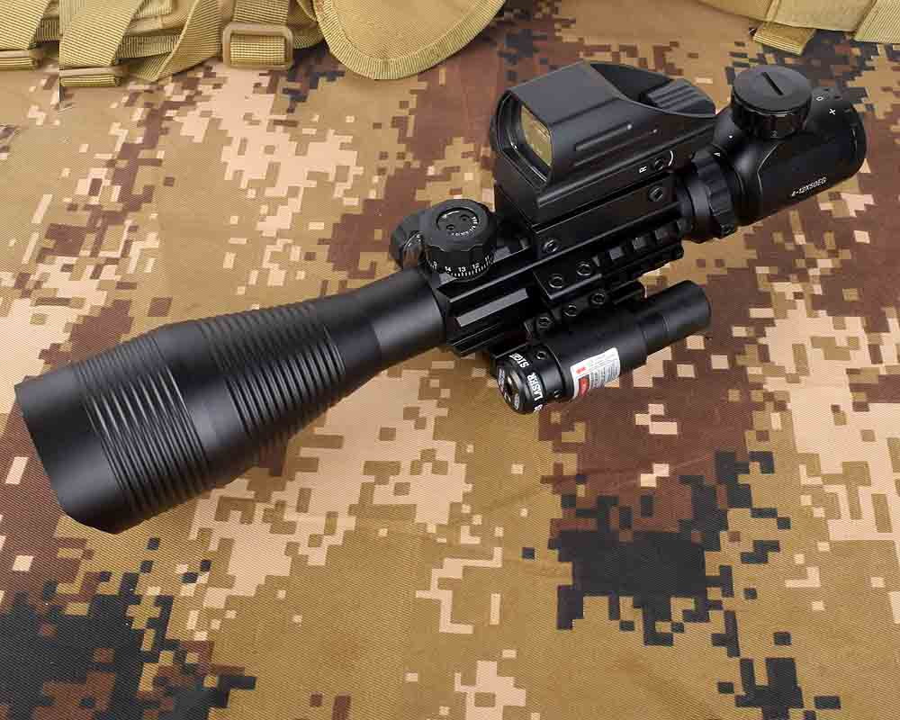 Rifle Scope Combo C4-16x50EG Hunting Dual Illuminated With Laser Sight 4 Holographic Reticle Red/Green Dot For 22 Rail