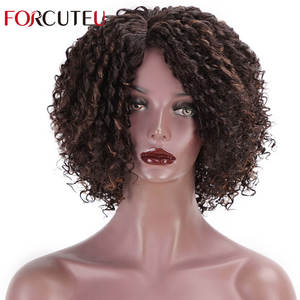 Curly Wig Short Black Synthetic Women Hair Afro FORCUTEU Four-Colors Side-Part Cosplay