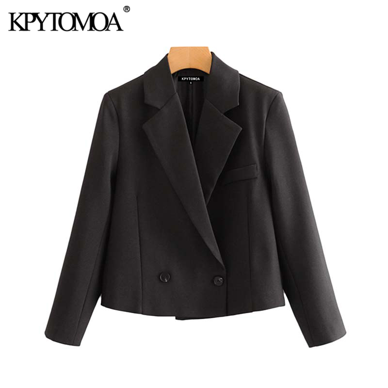 Vintage Stylish Double Breasted Office Wear Blazer Coat Women 2020 Fashion Notched Collar Long Sleeve Female Outerwear Chi Tops