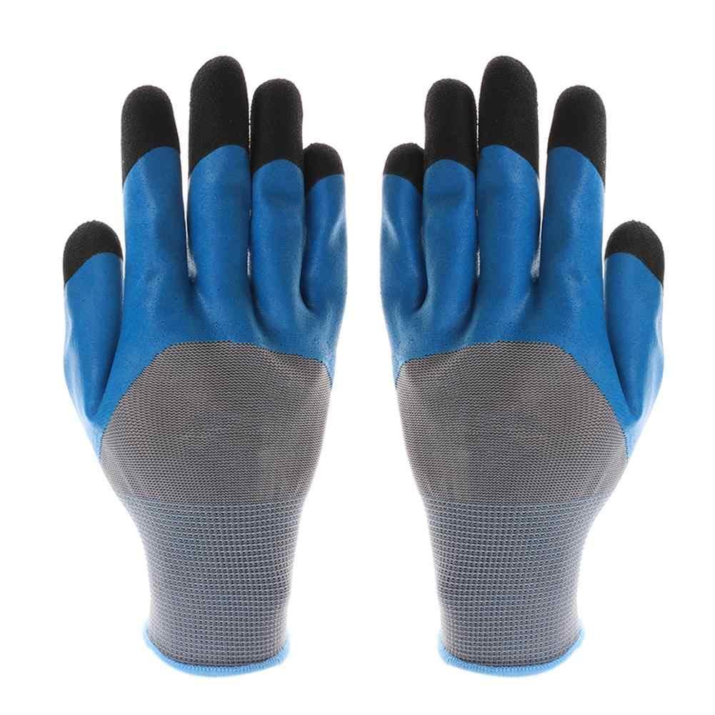 1 para PU gumowe rękawice ogrodowe odporne na zużycie rękawice robocze ogrodnictwo kopanie sadzenia trwałe wodoodporne narzędzia gospodarstwa domowego