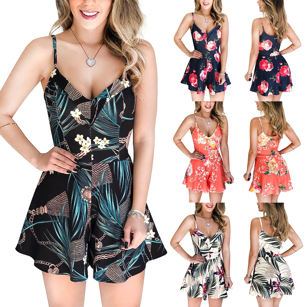 2020 NEW Women's Summer Print Jumpsuit  Casual Loose Short Sleeve V-neck Beach Rompers Sleeveless Bodycon Sexy Playsuit