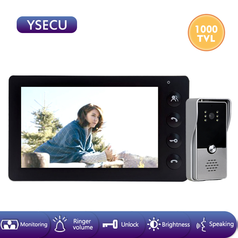 YSECU 7''Wired 1000TVL Black Video Doorbell Intercom Video Camera Color LCD Indoor Monitor Unlock Talking Video Door Phone