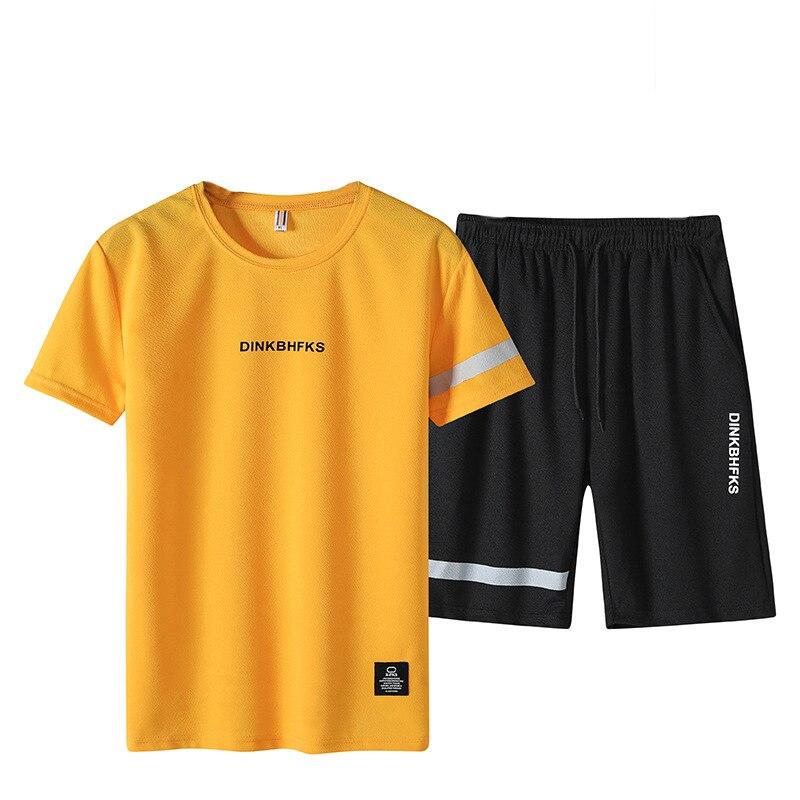 Summer Short-sleeved New Style Men Leisure Sports Suit Men's Korean-style Crew Neck Half-sleeve Shirt Clothes Shorts