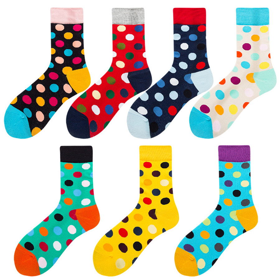 Colorful Casual Tube Cotton Socks Fruit Dot Series Street Tide Socks Color Matching Happy Socks Couple Socks Cotton Stocks