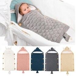 Novo carrinho de bebê saco de dormir botões design recém-nascido menino meninas sleepsack malha veludo quente dormir saco da criança cobertores