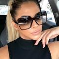 Солнцезащитные очки унисекс, квадратные темные очки большого размера, в черной оправе, с градиентом, в стиле хип-хоп, с цветными линзами