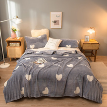 Coral Fleece Blanket Nap Air Conditioning Blanket For Beds Quilt Sheet Bedspread Cover Single Layer Thick Flannel Throw Blankets