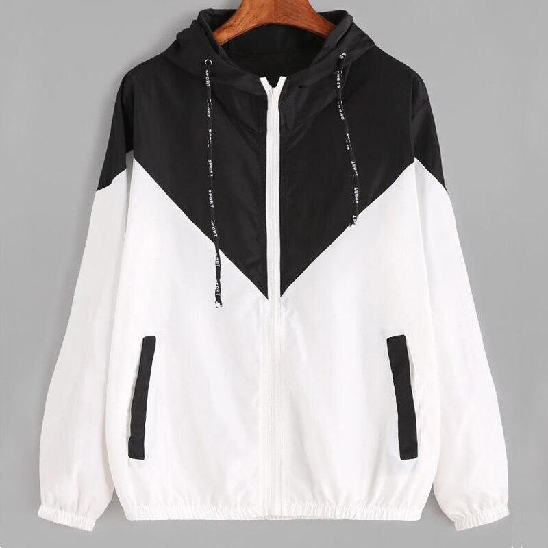 Hooded Basic Jackets Female Zipper Pockets Coats Autumn Casual Long Sleeves Jacket Two Tone Windbreaker Jacket Ropa Mujer