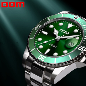 Image 1 - Mens Wristwatch Clock Green/Black Water Ghost Series Mens Waterproof Watches Quartz Watch For Men Luxury Casual Brand DOM 2019