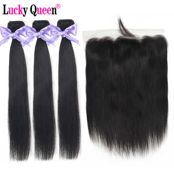 Peruvian Straight Hair Bundles With Frontal 4pcs/lot Non Remy Human Hair Bundles With 13*4 Frontal Lucky Queen Hair Products - DISCOUNT ITEM  51% OFF All Category