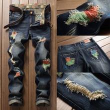 цены Fashion Brand Men's Jeans Nostalgic Denim Men's Pants Biker Moto Jeans Slim Fit Straight Denim Pants Distressed Trousers