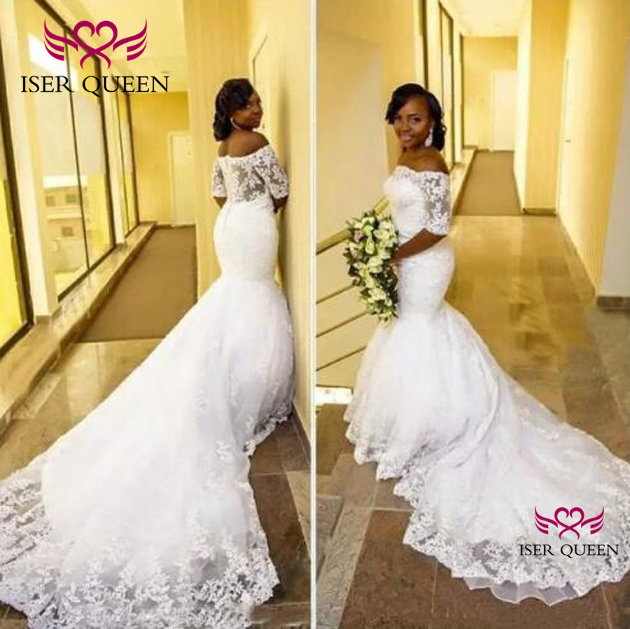 Boat Neck Half Sleeves Illusion Embroidery Mermaid Wedding Dresses Zipper Ivory Bride Gown Vestido De Novia Con Manga W0396