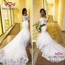 ボートネックハーフスリーブイリュージョン刺繍マーメイドウェディングドレスジッパーアイボリーの花嫁のドレス vestido デ · ノビアウェディングドレス W0396
