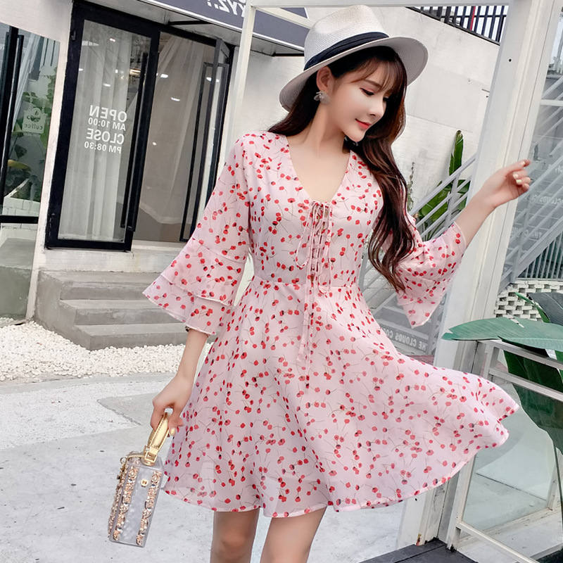<font><b>2018</b></font> New Style <font><b>Sexy</b></font> V-neck Bandage Cloth Floral-Print Fluttering Sleeve <font><b>Chiffon</b></font> <font><b>Dress</b></font> 2395gt630 image