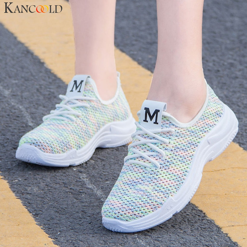 Women Sports Shoes Sneakers Lightweight Mesh Breathable Soft-soled Shoes Lace-Up Cushioning Casual Ladies Outdoor Running Shoes