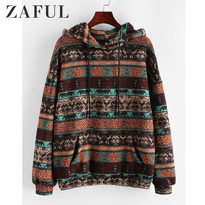ZAFUL Hoodies Sweatshirts Women Tribal Print Drawstring Front Pocket Hoodie 2019 Winter Drop Shoulder Vinatge Oversized Hooded