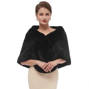 Image 1 - Black Cloak Shawl Adults Formal Jackets Cape Fourrure Shrugs For Women Winter Wedding Dress Wrap Womens Dresses With Cape 2020