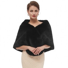 שחור גלימת צעיף מבוגרים פורמליות מעילי קייפ Fourrure מושך בכתפיו לנשים חורף חתונה שמלת לעטוף נשים של שמלות עם קייפ 2020