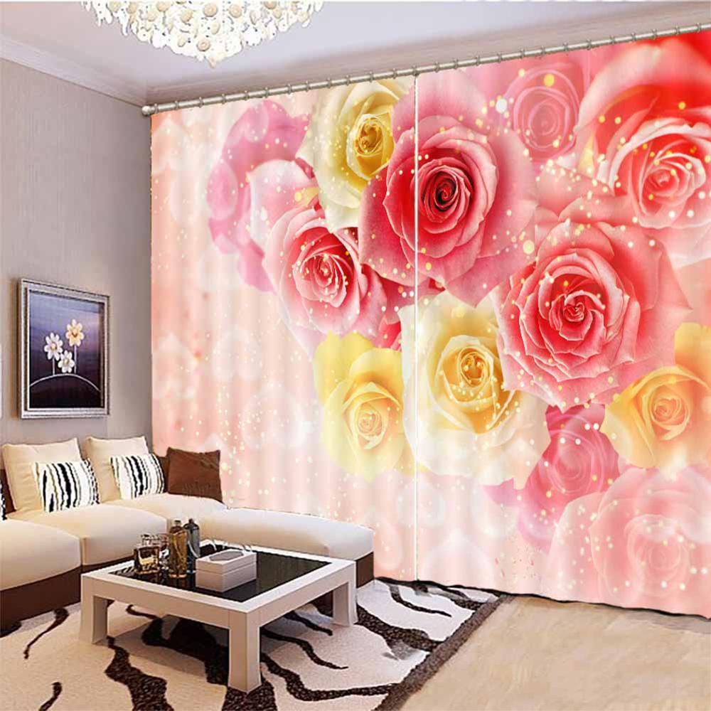 Japanese Window Curtains Beautiful Rose Modern Living Room Curtains Vorhang Schlafzimmer Blackout Custom Size 3d Curtains Aliexpress