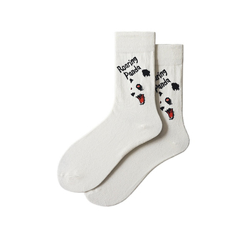 Mens autumn winter cartoon panda pattern cotton funny socks street trend fashion casual personality creative anime happy