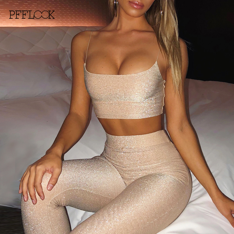 PFFLOOK Summer Sequined Jumpsuit Women Rompers Sparkle Glitter Strapless Bodycon Sexy Jumpsuit Sashes Club Party Jumpsuits Women