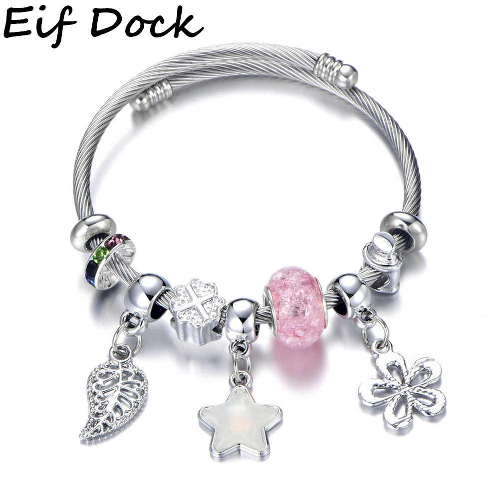 Vintage Silver Color Adjustable Stainless Steel Charm Bracelet with Star Leaves Pendant & Pink Crystal Ball Brand Bracelet