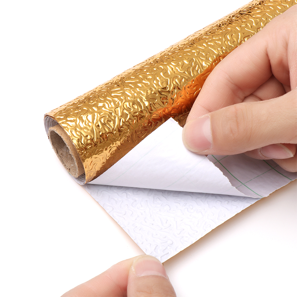 NEW 100CM Self-adhesive DIY Wallpaper Silver Gold Color Furniture Stove Oil-proof Waterproof Aluminum Foil Kitchen Stickers