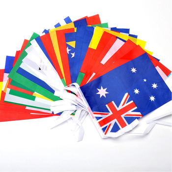 15/32Pcs Hanging Flag Football Soccer 32 Team National Flag Country World Banner Bunting 14*21cm String Flag image