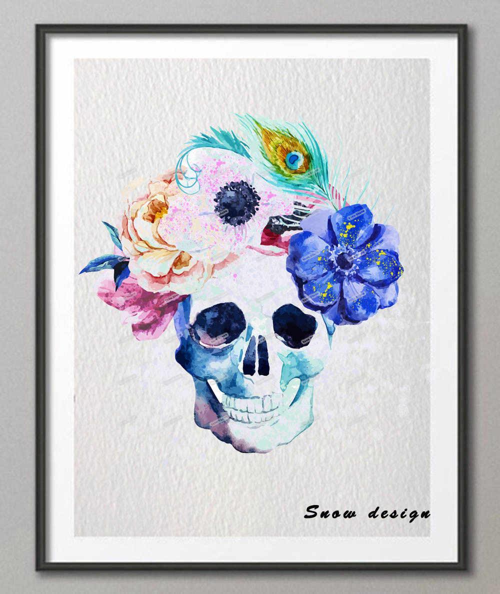 Sugar Skull Type 1 Wall Art Watercolor Poster Home Decor Baby Nursery UNFRAMED