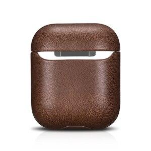 Image 4 - كريزي هورس حقيبة جلدية لأبل إيربودس بلوتوث اللاسلكية سماعة حافظة جلدية غطاء ل الهواء القرون 2 غطاء شحن صندوق حالات
