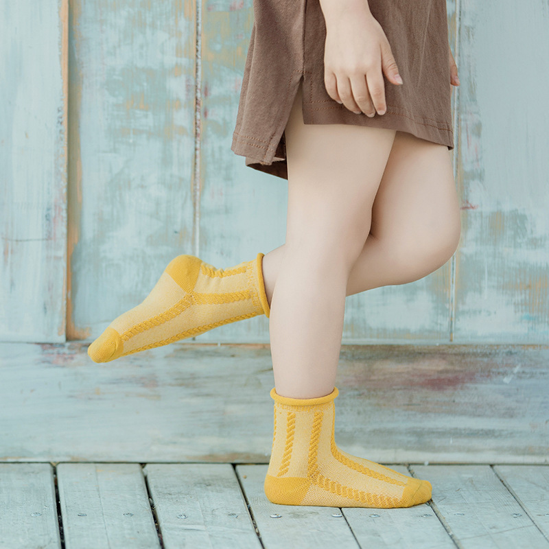 2019 Summer New Style Children's Socks Baby Ma Hua Wen Solid Color Crimping Short Socks Relent INS Wave Socks