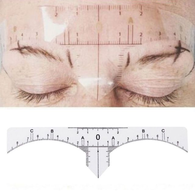 Disposable Adhesive Eyebrow Ruler Guide Sticker Tape Semi-permanent Tattoo Template Measure Beauty Tool