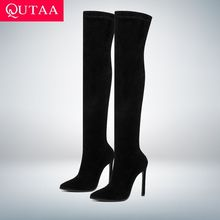QUTAA 2020 Winter Over The Knee Women Boots Stretch Fabrics High Heel Slip on Shoes Pointed Toe Woman Long Boots Size 34 43