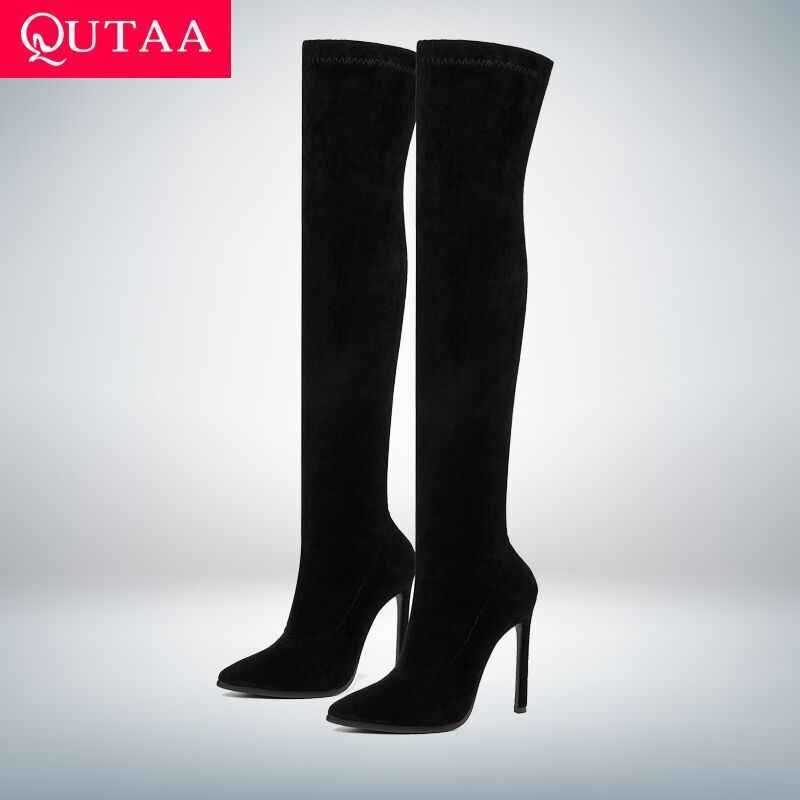 QUTAA 2020 kış diz kadın botları streç kumaşlar yüksek topuk bağcıksız ayakkabı sivri burun kadın uzun çizmeler boyutu 34 -43