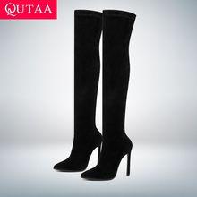 QUTAA 2020 חורף מעל הברך נשים מגפי למתוח בדים גבוהה העקב להחליק על נעלי הבוהן מחודדת אישה ארוך מגפיים גודל 34 43