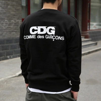 REI Japanese-style Fashion Thing CDG Printed Letter Pullover Round Neck Fleece Lined Hoodie